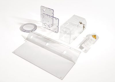 Technical pieces, screens and machine hoods are often made in PET or PC.