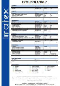 Imatex datasheet Extruded acrylic